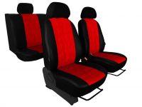 Zobrazit detail - Autopotahy EMBOSSY kožené, pruhovaný plastický vzor, červené
