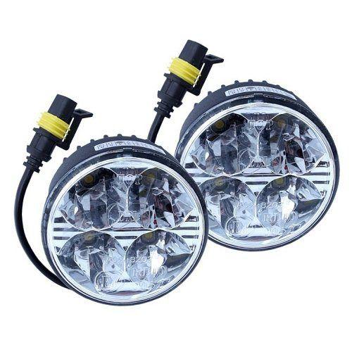 Homologovaná světla pro denní svícení, napájení 12V 24V, kulatá 4x vysoce svítivou HI POWER LED diodou