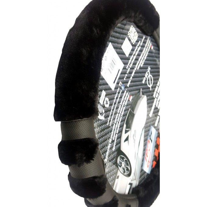 Měkký, plyšový potah volantu paw 37-39cm černý hřejivý 4car
