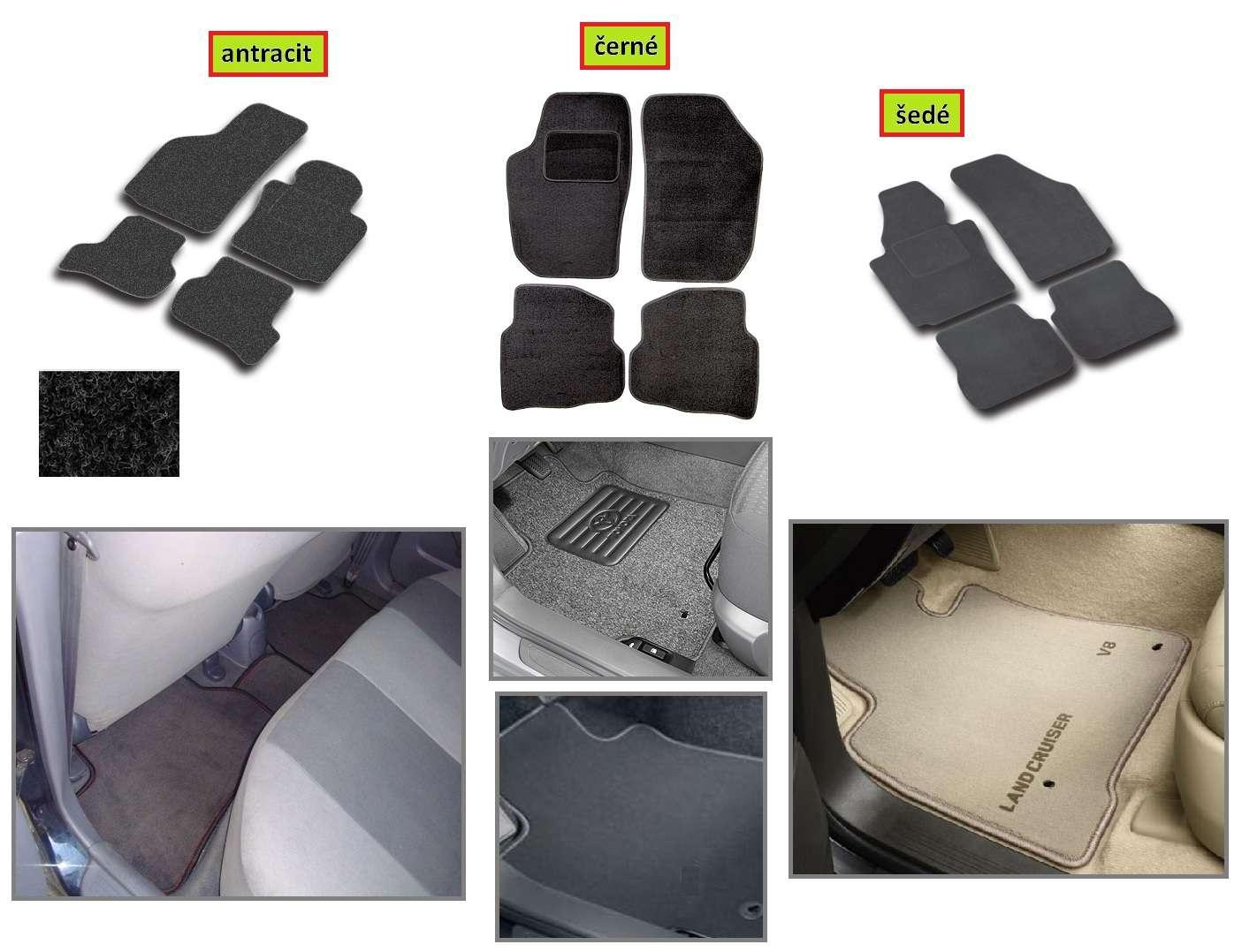 hdt Přesné textilní koberce Mitsubishi Colt 5dv. 2008r a výše (topení v zadu) autokoberce antracit