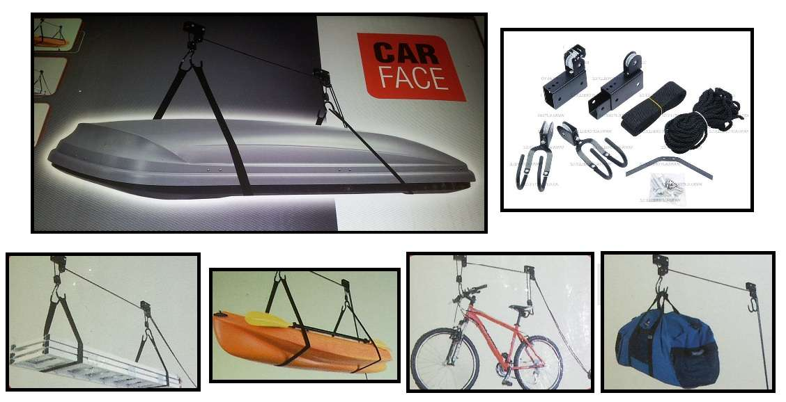 Kovový kladkový držák k montáži na strop, pro horské kolo, střešní box, kajak, zavazadlo, 1ks
