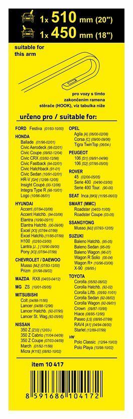 Stěrač Ford, Nissan, Daewo, Honda, Opel, Peug., Rover, Smart, March (HOOK) 510+450mm