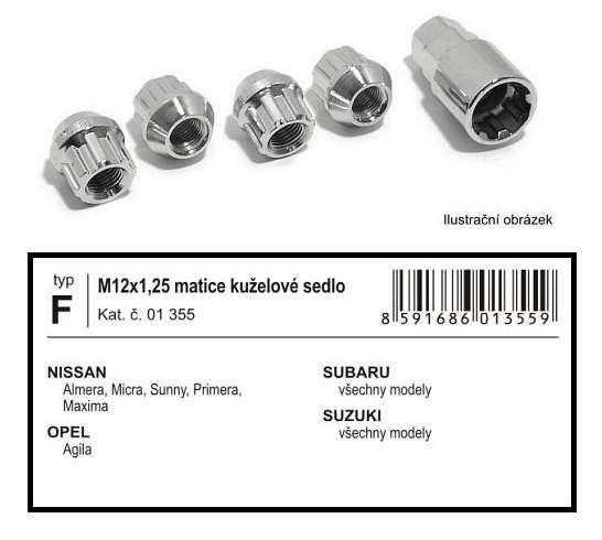 Bezpečnostní pojistný kovová matice sada M12x1,25mm kuželové sedlo pro Daewoo, Nissan, Opel, Subaru, Suzuki