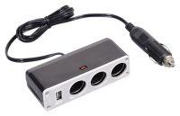 Roztrojka do zdířky cigaretového zapalovače 12V, 24V rozbočka 3x + USB, 1000mA Compass