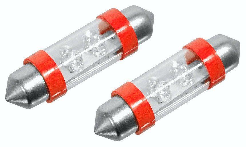 Žárovka 4LED 12V suf. SV8.5 38mm červená 2ks