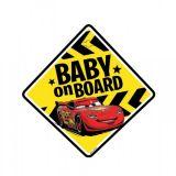 Dítě v autě na přísavku Cars Blesk Mcqueen 12,5 x 12,5 cm
