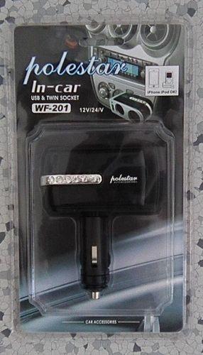 Rozdvojka zapalovače nastavitelná 12/24V USB, WF-201