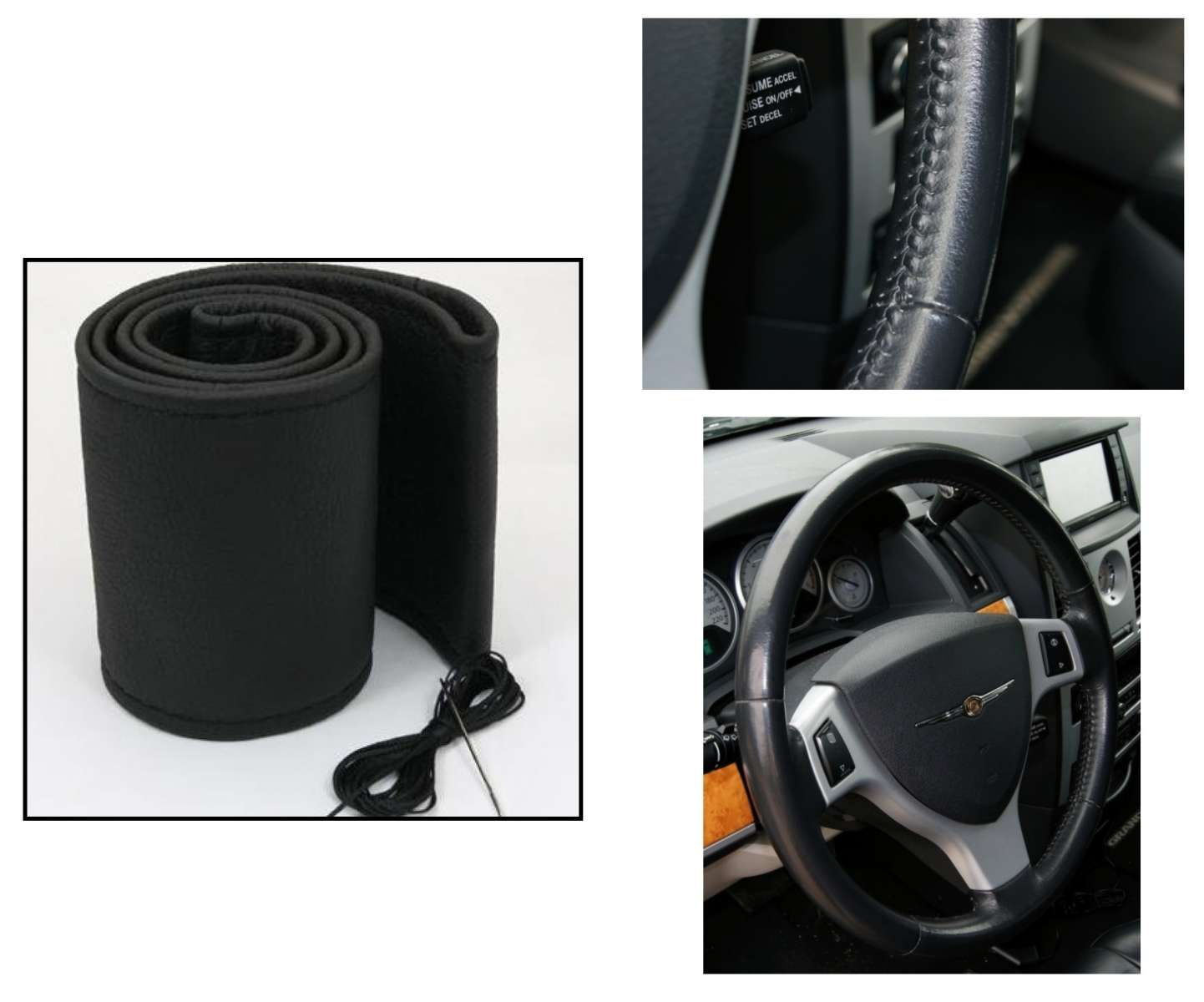 Potah volantu omotávací kožený černý 37-38cm a obvod věnce 9,7-10,4cm