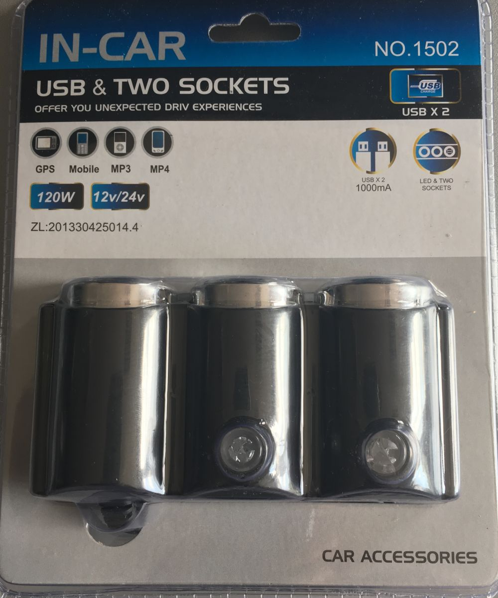 Rozdvojka 12/24V 2 x USB, 1502