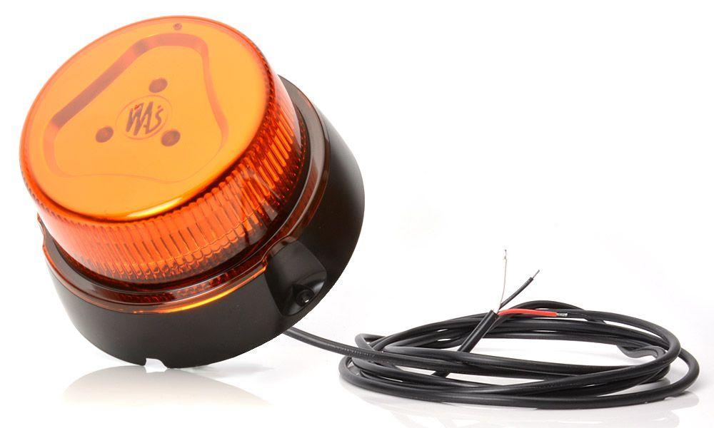 Maják oranžový LED,1-funkce, kabel 3M + magnet,12/24V, W126
