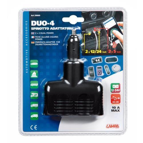 Rozdvojka zapalovače 12/24V + 2x USB (max.10A, max. 2A); 39069