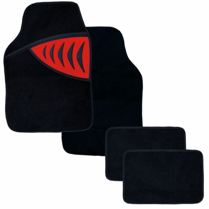 Textilní autokoberce SHARK červená 2x přední díl, 2x zadní díl, univerzální Vyrobeno v EU