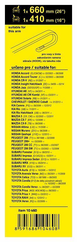 Přesné stěrače Peugeot, Honda, Hyundai, Kia, Mazda, Nissan, Subaru, Toyota (HOOK) 660+410mm Vyrobeno v EU