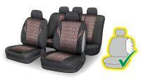 Autopotahy JACK I tmavé s obdélniky Univerzální na auto s atestem na airbag, zipem dělená lavice Vyrobeno v EU