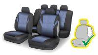 Autopotahy Poly modrá Univerzální na auto s atestem na airbag, zipem dělená lavice Compass