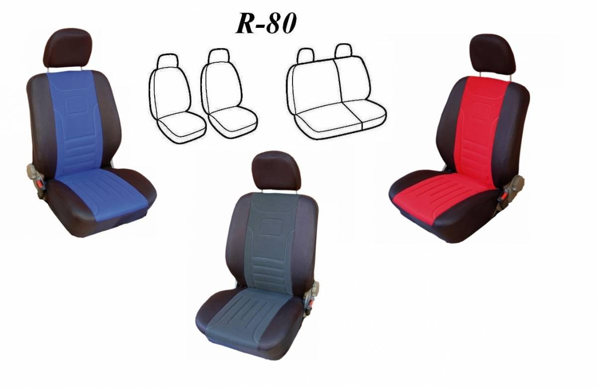 Potahy na auto CLASSIC dělené R80, Škoda FABIA I, s dělenou zadní sedačkou červené