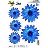 Samolepka, dekor květiny modré 5ks s UV filtrem