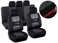 Autopotahy černé CARBON Univerzální na auto s atestem na airbag, v celku opěradlo i sedadlo