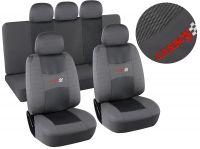 Autopotahy šedé CARBON Univerzální na auto s atestem na airbag, v celku zadní lavice