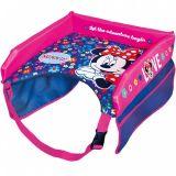 Cestovní stoleček dívčí Minnie Mouse LOVE, boční kapsy 4x,  lze použit v autě, vlaku nebo letadlu nebo do kočárku.