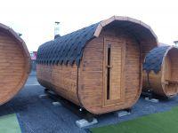Finská sudová Sauna KVADRO, komín a pec, elek. enstalace 4,5 m