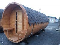 Finská sudová Sauna s terasou, komín a pec, elek. enstalace 3,5m