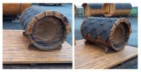 Dřevěná Psí bouda ovál sud, délka 105 cm tmavá
