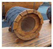Dřevěná Psí bouda ovál sud, délka 105 cm světlá
