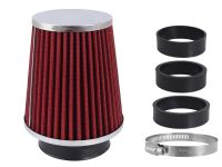 Filtr vzduchový UNI 120x130x90mm, červený/chrom, adaptér 60, 63, 70mm, 86000