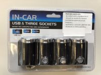 Roztrojka 12V/24V + 2x USB  IN CAR  s kabelem