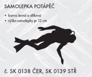 Samolepka na auto Potápěč, 12cm černá, stříbrná