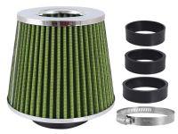 Filtr vzduchový UNI 155x130x120mm, zelený/chrom, adaptér 60,63,70mm, 86008