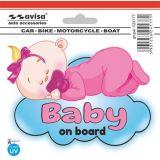 Samolepící dekor výstražná Dítě v autě na obláčku, vnitřní UV ochrana