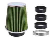 Filtr vzduchový UNI 120x130x90mm, zelený/chrom, adaptér 60,63,70mm, 86009