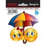 Samolepka Smajlík On a Ona sluníčka pod deštníkem 45 x 45 mm