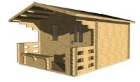 Zahradní domek s terasou Elza, 15.5 m2, dřevo