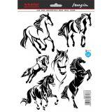 SAMOLEPÍCÍ DEKORY kůň mustang siluety 6ks 190x280 mm