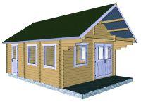 Zahradní domek s terasou Antip, 23.55m2, dřevo