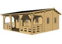 Dřevěný zahradní domek chatka s terasou Iris, 23.2+11.6m2