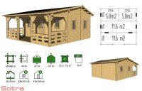 Zahradní domek s terasou Iris, 23.2+11.6m2, dřevo