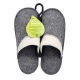 Pánské pantofle do sauny bílo šedá, vlna 100% vlna