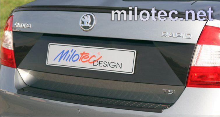Vyrobeno v EU Designový kryt pod SPZ, ABS černá metalíza, Škoda Rapid Limousine