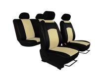 Autopotahy Škoda Fabia I, kožené Tuning černobéžové, nedělené zadní sedadla