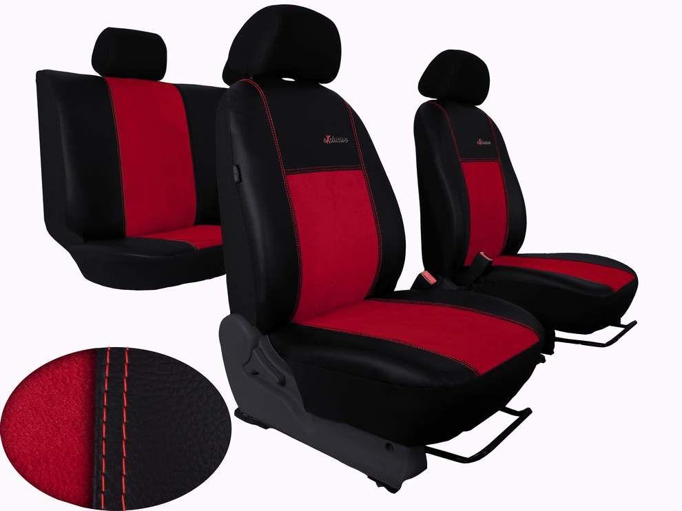 Autopotahy na míru kožené s alcantarou Volkswagen Multivan T4, 3 místa, EXCLUSIVE červené Vyrobeno v EU