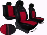 Autopotahy Volkswagen VW T5, 3 místa, EXCLUSIVE kožené s alcantarou, červené