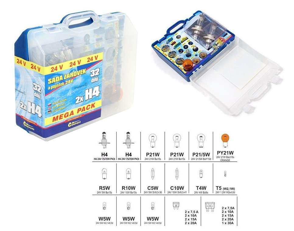 Kufřík, Servisní krabička, Žárovky 24V servisní box MEGA H4+H4+pojistky