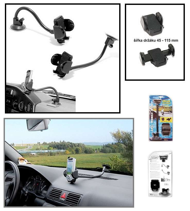 Univerzální držák s dlouhým ramenem pro GPS navigace, PDA, mobilní telefony