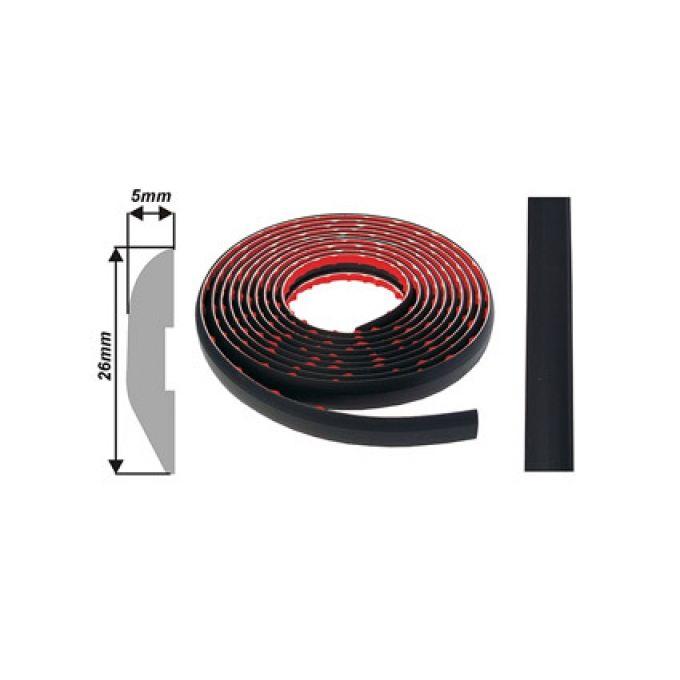 Exteriér / Interiér lišta na bok auta černá šířka 26mm, tloušťka 5mm, délka 4 metry 1ks