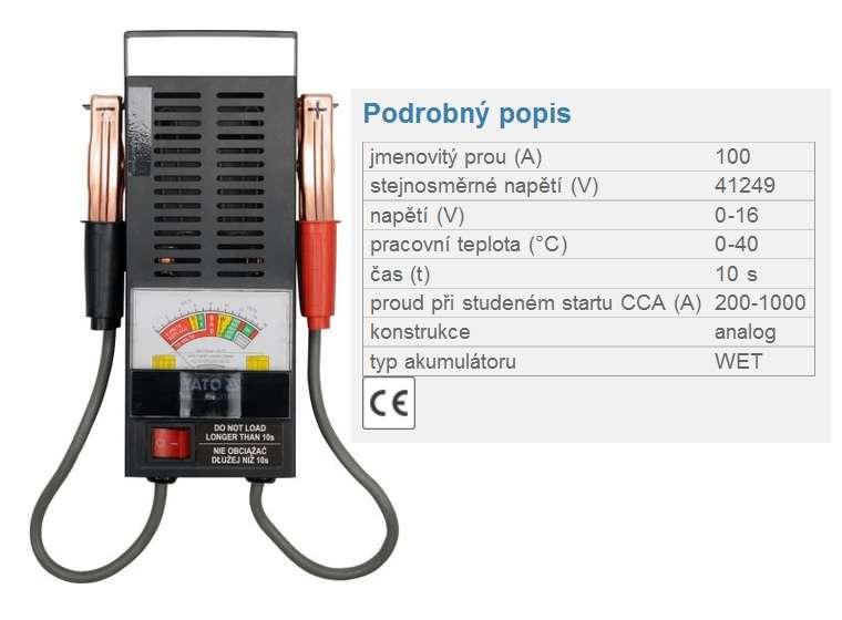 Analogová zkoušečka akumulátorů (autobaterie) 100 amp