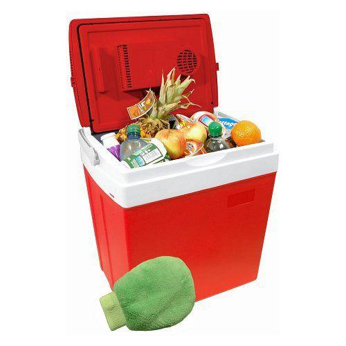 Přenosný chladící box 30 litrů RED červený, 220/12V LED ukazatel teploty